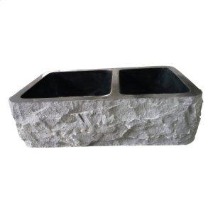 "Brandi Double Bowl Granite Farmer Sink - 33"" - Polished Blue Gray Product Image"