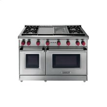"""48"""" Gas Range - 4 burners and Infrared Charbroiler and Griddle"""