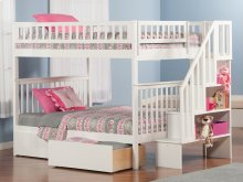 Woodland Staircase Bunk Bed Full over Full with Urban Bed Drawers in White