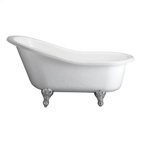 "Estelle Acrlyic Slipper Tub - 60"" White - Polished Nickel"