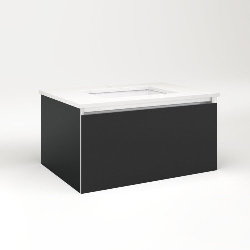 """Cartesian 30-1/8"""" X 15"""" X 21-3/4"""" Slim Drawer Vanity In Matte Black With Slow-close Full Drawer and Selectable Night Light In 2700k/4000k Temperature (warm/cool Light)"""