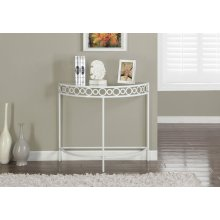 """ACCENT TABLE - 36""""L / WHITE METAL HALL CONSOLE"""