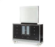 Black Iguana Upholstered Dresser w/Mirror