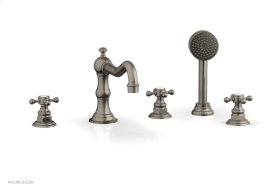 HENRI Deck Tub Set with Hand Shower with Cross Handles 161-48 - Pewter