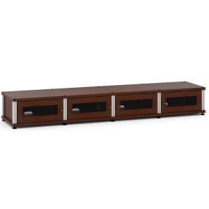 Salamander DesignsSynergy Solution 147, Quad-Width AV Cabinet, Walnut with Aluminum Posts