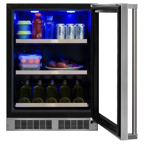 """Professional 24"""" Wine Cellar with Display Rack & Hinge Pin - Stainless Steel Framed-Glass Door with Lock, Left Hinge"""