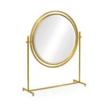 Round Antique Brass & Zebrano Dressing Table Mirror