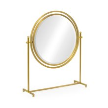 Round Antique Brass & Zebrano Dressing Table Mirror