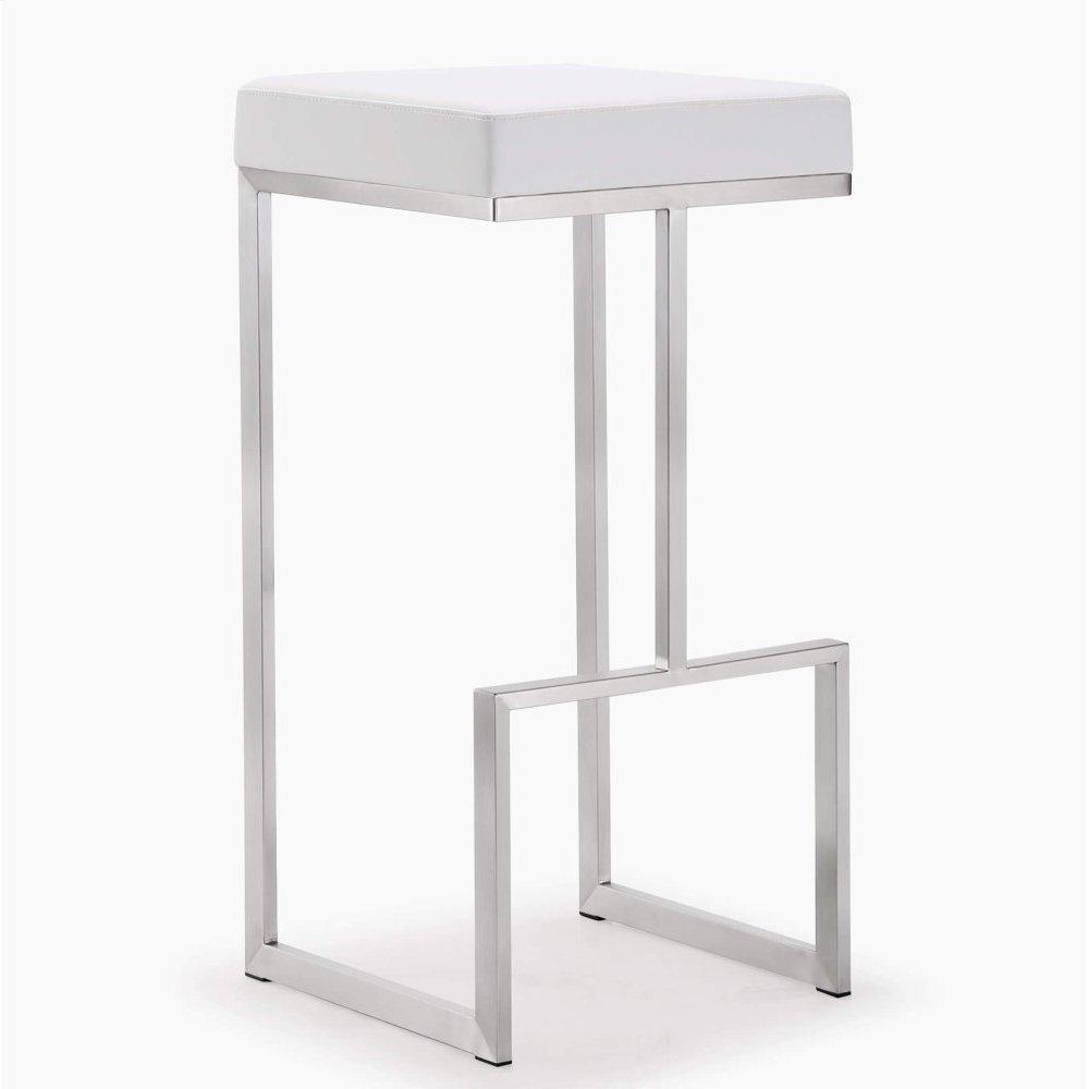 Ferrara White Stainless Steel Barstool - Set of 2