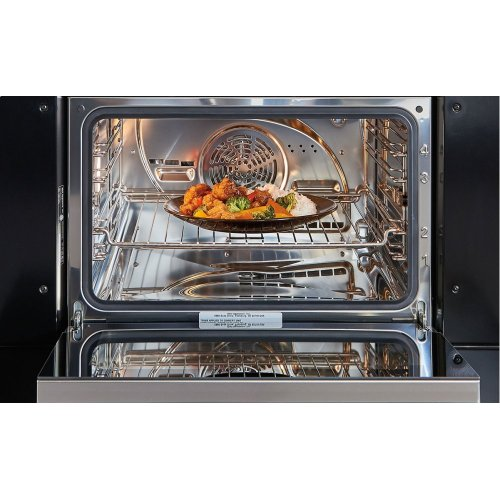 "30"" M Series Contemporary Black Glass Convection Steam Oven with Retractable Handle"