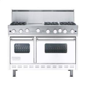"White 48"" Open Burner Range - VGIC (48"" wide, six burners 12"" wide griddle/simmer plate)"