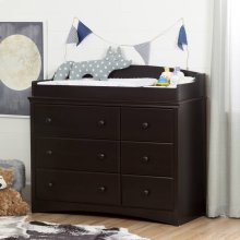 Changing Table/Dresser with 6 Drawers - Espresso