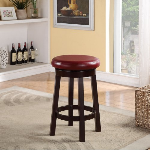 """Metro 24"""" Metro Round Barstool In Red Faux Leather"""
