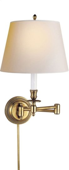 Visual Comfort S2010HAB-NP Studio Candle Stick 19 inch 75 watt Hand-Rubbed Antique Brass Swing-Arm Wall Light in Natural Paper