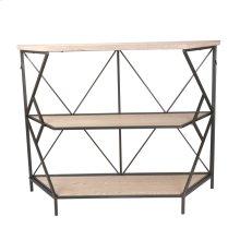 "Wood / Metal 44"" 3 Tiered Shelf Unit, Brown"