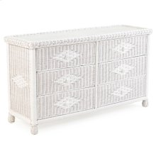 Wicker 6 Drawer Dresser in Cotton 3706
