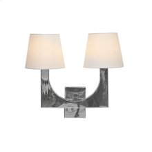 Stainless Steel 2 Arm Sconce With White Linen Shade