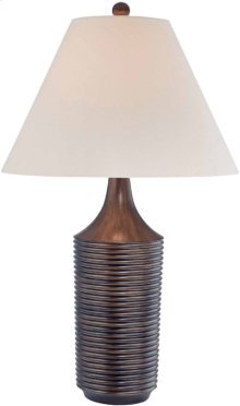 Table Lamp, Brushed Bronze/fabric Shade, E27 Cfl 32w