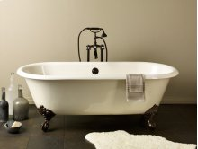 REGAL Cast Iron Clawfoot Bath With Flat Area for Faucet Holes