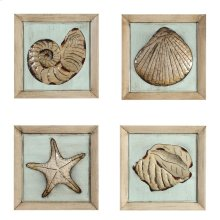 14 x 14 in. Wood Plaque of Sea Shells (set of 4)