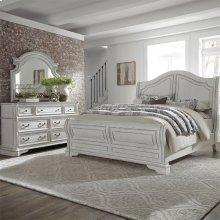 King Sleigh Bed, Dresser & Mirror