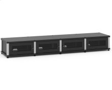 Synergy Solution 147, Quad-Width AV Cabinet, Black with Aluminum Posts