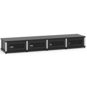 Salamander DesignsSynergy Solution 147, Quad-Width AV Cabinet, Black with Aluminum Posts