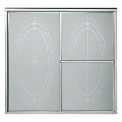 """Deluxe Sliding Bath Door - Height 56-1/4"""", Max. Opening 59-3/8"""" - Silver with Ellipse Glass Pattern"""