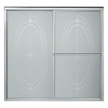 "Deluxe Sliding Bath Door - Height 56-1/4"", Max. Opening 59-3/8"" - Silver with Ellipse Glass Pattern"