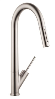 Stainless Steel Finish Single lever kitchen mixer with pull-out spray