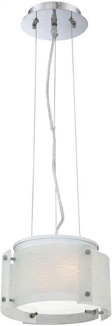 Pendant Lamp, Chrome/4pcs Frost Glass Panel, E27 G 60wx2