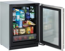 """Stainless Right-hand Modular 3000 Series / 24"""" Glass Door Refrigerator / Digitally controlled single-zone convection cooling system"""