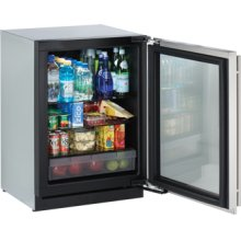 "Stainless Right-hand Modular 3000 Series / 24"" Glass Door Refrigerator / Digitally controlled single-zone convection cooling system"