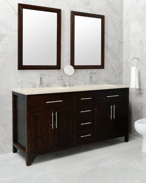 Espresso MALIBU 60-in Double-Basin Vanity Cabinet with Crema Marble Stone Top and Karo 18x12 Sink