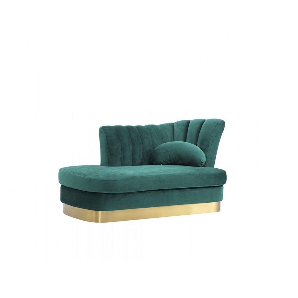 Divani Casa Arvada Modern Green Velvet & Gold Loveseat Chaise