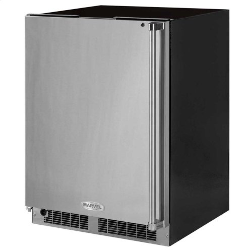 """24"""" Marvel Professional Freezer - Solid Stainless Steel Door with Lock - Right Hinge, Professional Handle"""