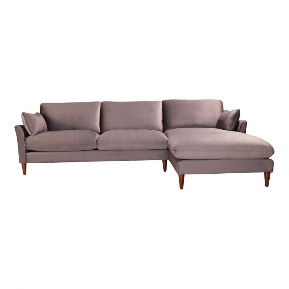 Suma Sectional Right Grey Velvet