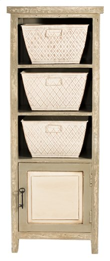Signature 3 Basket Stand With 1 Door - Rustic White and Gray