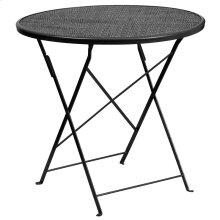 30'' Round Black Indoor-Outdoor Steel Folding Patio Table