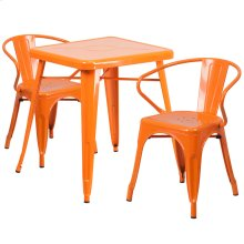 23.75'' Square Orange Metal Indoor-Outdoor Table Set with 2 Arm Chairs