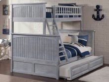 Nantucket Bunk Bed Twin over Full with Raised Panel Trundle Bed in Driftwood Grey