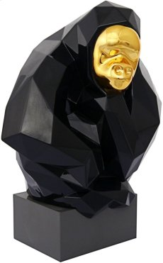 Pondering Ape Large Sculpture - Black and Gold Product Image
