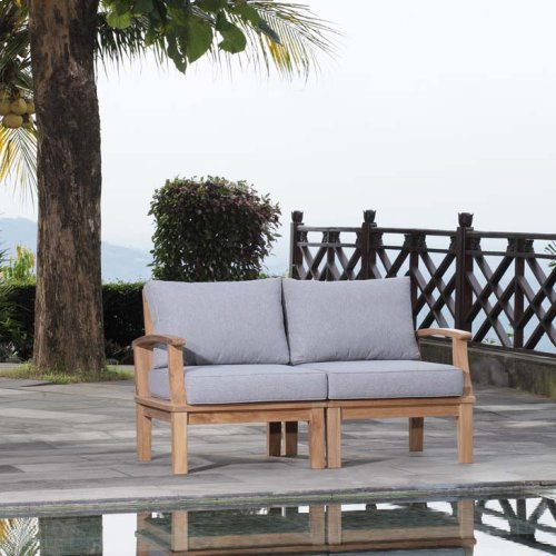 Marina 2 Piece Outdoor Patio Teak Set in Natural Gray