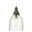 Etched Dome Pendant with Wood Turned Top. 40W Max. Plug-in with Hard Wire Kit Included. Product Image
