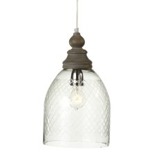 Etched Dome Pendant with Wood Turned Top. 40W Max. Plug-in with Hard Wire Kit Included.