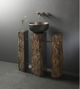 Triple Basalt Pedestal Satin Nickel