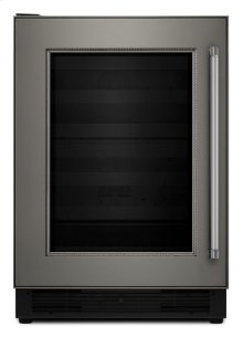 "24"" Panel Ready Wine Cellar with Glass Door and Wood-Front Racks"