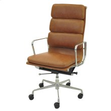 Chandel PU High Back Office Chair , Vintage Tawny