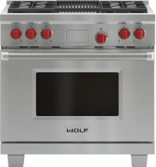 "36"" Dual Fuel Range - 4 Burners and Infrared Charbroiler"