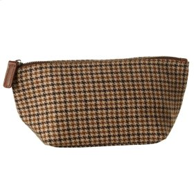 Brown Houndstooth Zip Pouch.